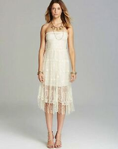 af0aafe94f40 FREE PEOPLE Floral lace Sheer Mesh Slip Dress Cream Sz XS S M $168 ...