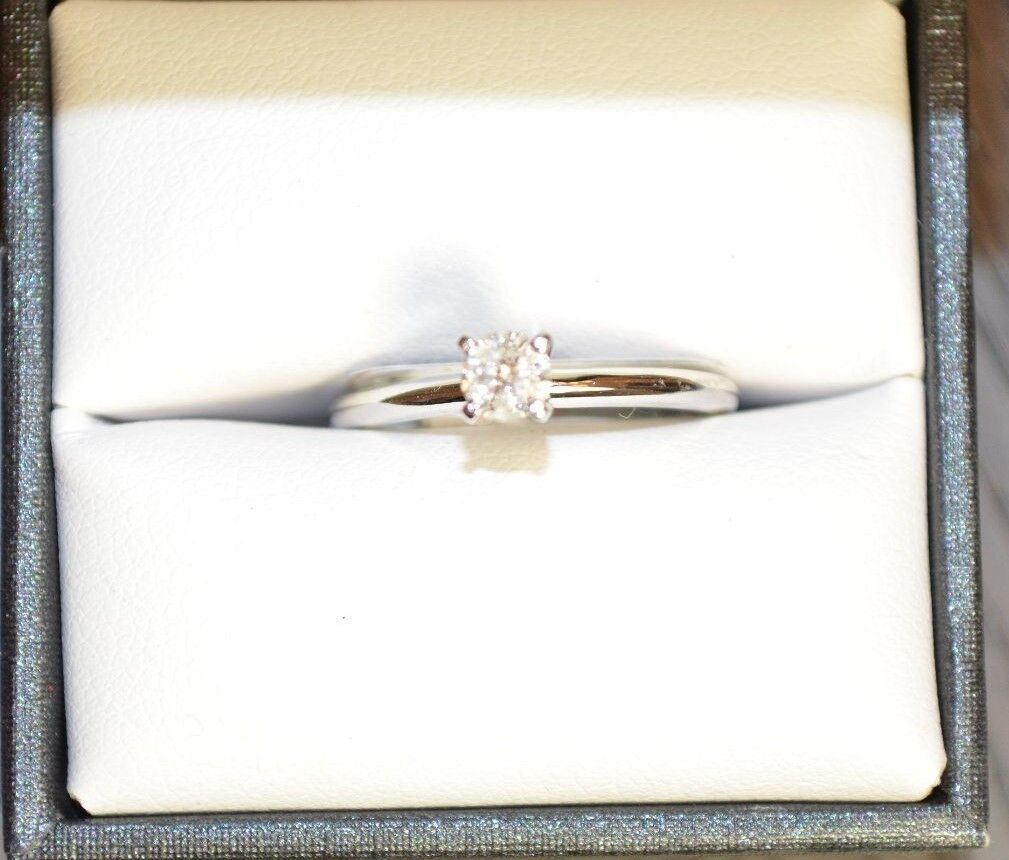 Wedding engagement ring, 1 4 carat diamond, 14k white gold