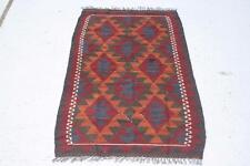 Afghan Kilim Rug Carpet 4'3x2'3 Hand Woven Ghazni Wool Kelim #7899