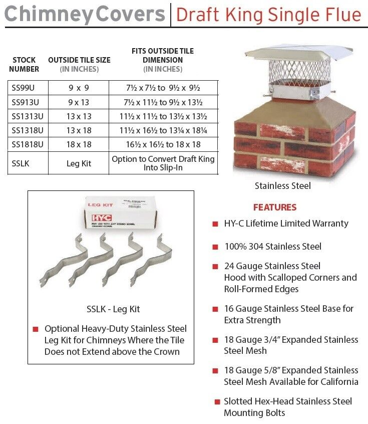 Hy C Stainless Steel Single Flue Draft King Chimney Cover