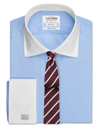 T.M.Lewin Mens  End-on-End Regular Fit Sky Blue Double Cuff Shirt