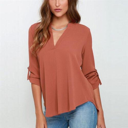 Damen V-Ausschnitt Chiffon Langarmshirt Bluse T-Shirt Freizeit Oberteile Tops