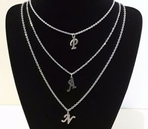 Silver 316 Steel Custom Made Personalized Name Initial Letter Pendant Necklace