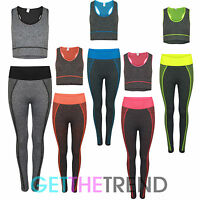 Damen Bauchfreies Top & Leggings Sport Satz Damen Eignung Active Training Outfit