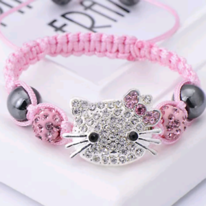 Hello-Kitty-Crystal-Studded-Charm-Adjustable-Bracelet-Baby-Pink-Silver-amp-White