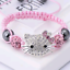 Hello-Kitty-Crystal-Studded-Charm-Adjustable-Bracelet-Baby-Pink-Silver-amp-White thumbnail 1