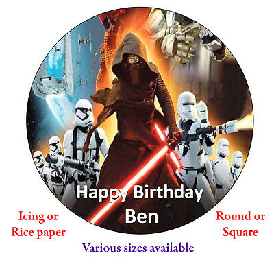 Star Wars 4 Personalised Edible Cake Topper Round//Square Icing//Rice 7//7.5//7 inch