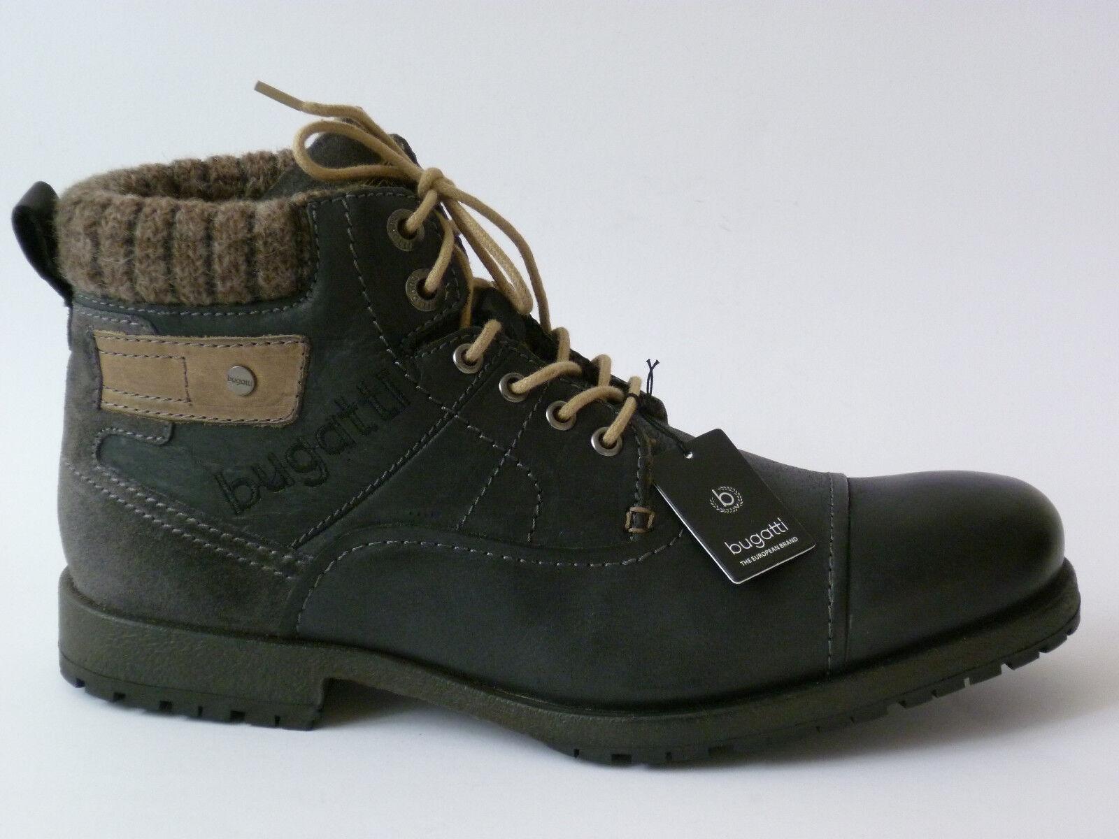 Bugatti botas señores Boots Boots señores 44 45 46 cuero negro forrado nuevo d05f92