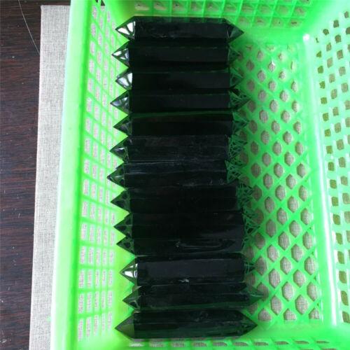 Natural Obsidian Black Quartz Crystal Stone Double Point Healing Hexagonal Wand