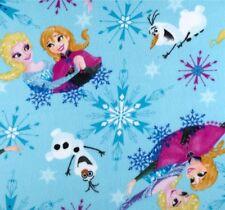 Disney Frozen Ice Skating Blue Elsa Anna Olaf Polyester Fleece Fabric Half Metre