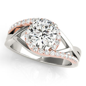 Details About 1 2ct Halo Two Tone Intertwined Women S Diamond Wedding Engagement Ring In Gold