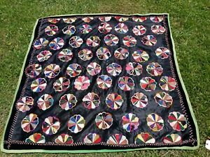 ANTIQUE-Hand-Stitched-DRESDEN-PLATE-Quilt-56-034-X-53-1-2-034-APPROX
