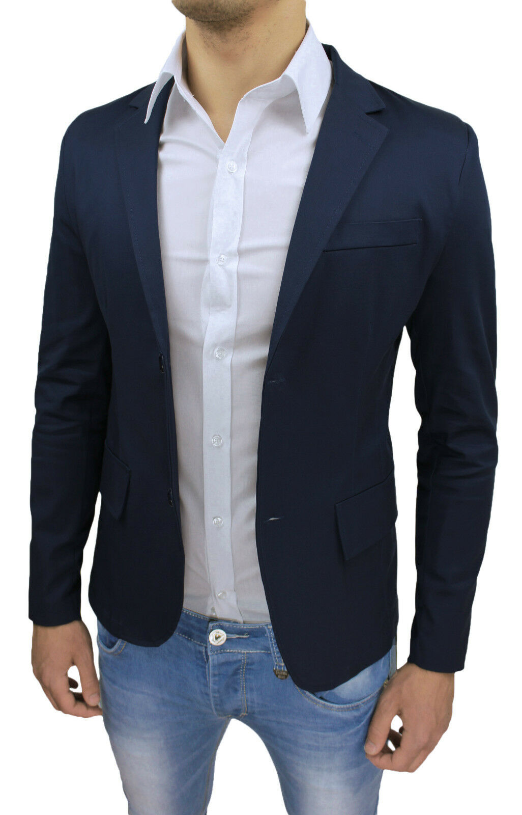 GIACCA BLAZER men SARTORIALE SLIM FIT SUPER ADERENTE blue SCURO S M L XL XXL 3XL