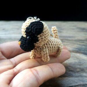 New-Pug-Crochet-Dog-Amigurumi-Miniature-Keychains-Handmade-Animal-Doll-Cute-Gift