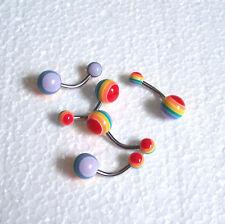 Rainbow Belly Bar 10mm Gay Pride Lesbian  Body Jewellery Navel Ring