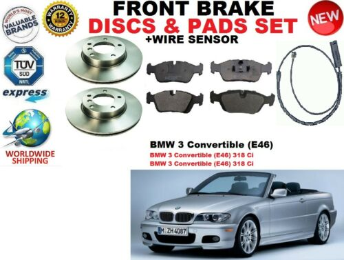 WIRE SENSOR FOR BMW 3 E46 CONVERTIBLE 01-07 FRONT BRAKE DISCS SET PAD KIT