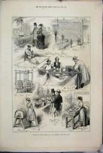 Original Old Antique Print 1876 Cheese Butter Making Prize Dairy Show Aylesbury