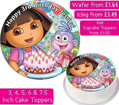 Admirable Dora The Explorer Birthday Edible Wafer Icing Personalised Cake Personalised Birthday Cards Veneteletsinfo