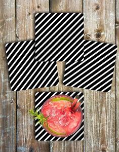 Black and White Stripes Drink Coasters Set of 4 Non Slip Neoprene