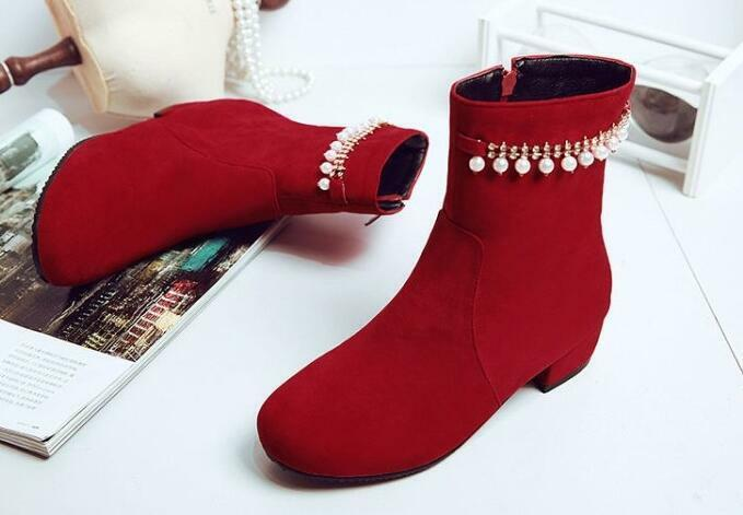 botas tacón de aguja zapatos de tacón mujer 4 cm rojo perlas como piel 8635