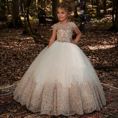 Lace Flower Girl Dress Party Princess Kids Pageant Dress Formal Kids Ball Gowns Ebay