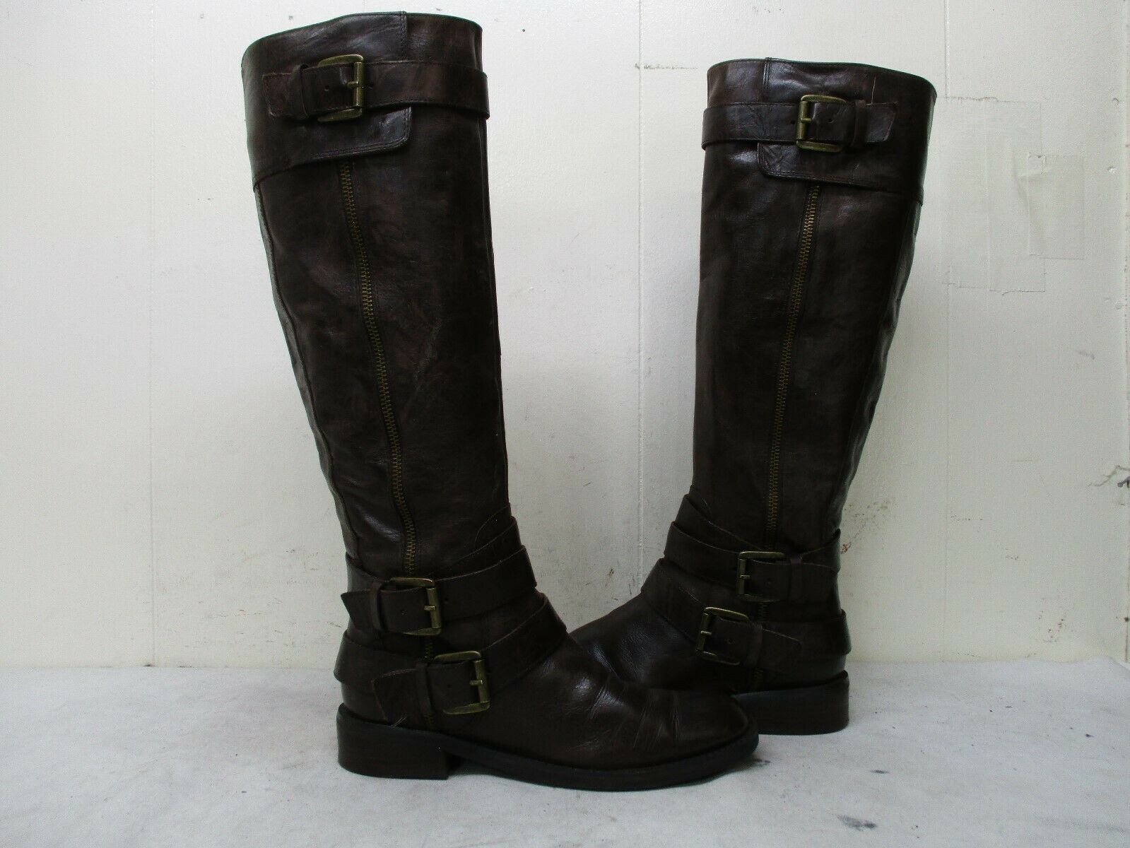 Enzo Angiolini Saylem Brown Leather Knee High Riding Boots Womens Size 6.5 M