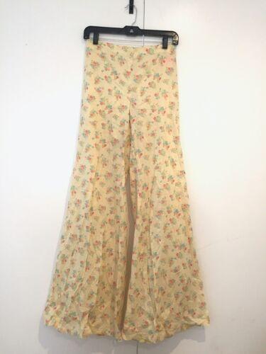 Vtg Diana Leslie Flare Pants Cotton Yellow Floral