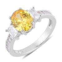 Yellow White Diamond Simulate Engagement Ring Size 6 Canary Clear Sim Diamond 5.