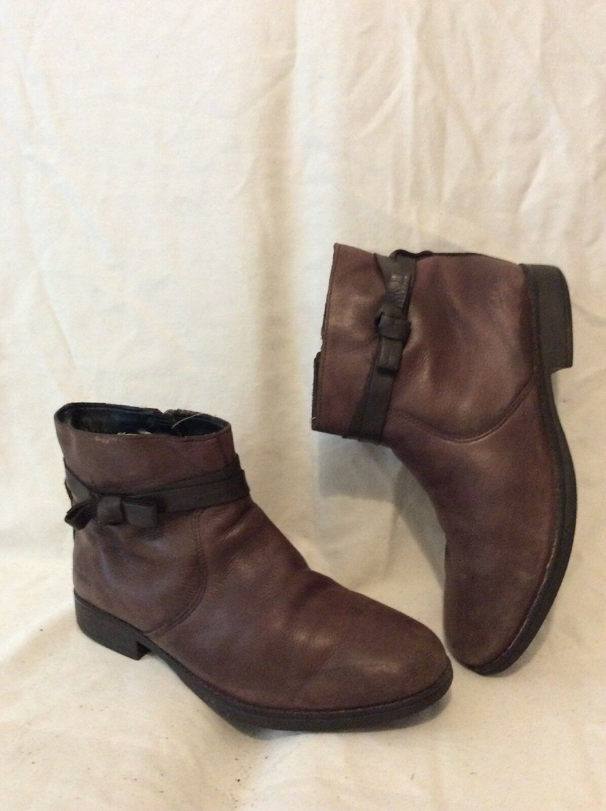 Clarks Brown Ankle Leather Boots Size 4F