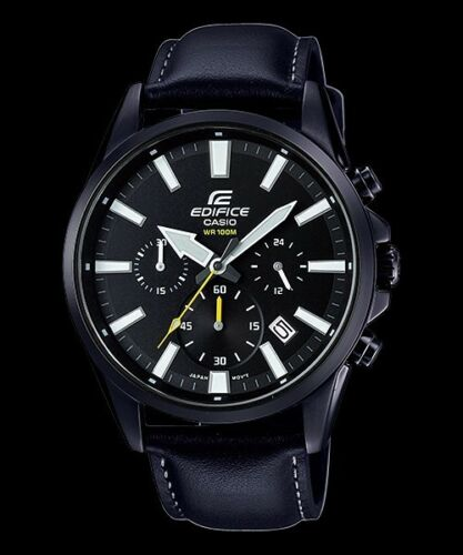 1 of 1 - EFV-510BL-1A Black Men's Watches Casio Edifice Chronograph 100m World time New