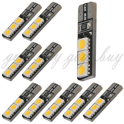 10 x Warm White T10 194 168 W5W 6 SMD 5050 LED Bulb Vehicle Car Canbus Light