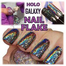 GALAXY HOLO Flake SPECCHIO CROMO olografico per unghie paillettes Unicorno Arcobaleno polvere