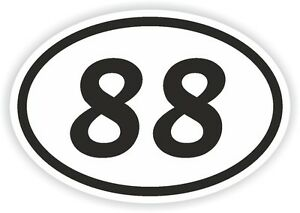 Motocross 88 Details Sticker Motorcycle Bumper Aufkleber Oval Decal Number Eighty-eight About
