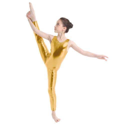 UK Girls Sleeveless Metallic Dance Catsuit Full Body Leotard Gymnastics Costumes