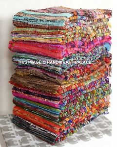 Fair-Trade-Loom-Recycled-Rag-Rug-Chindi-Shabby-Chic-Woven-Striped-Mat-Handmade