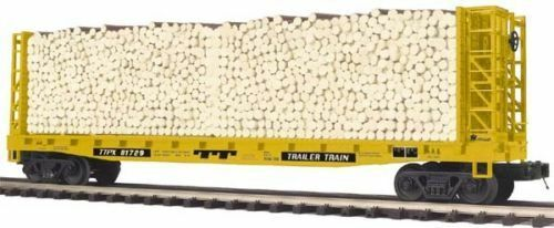 20-98895 Flat Car - w Bulkheads & Log Load - Trailer Train - 3 rail 0 Scale size