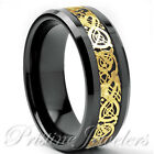 Black Tungsten Carbide Silver Celtic Dragon Ring Mens Jewelry Wedding Band 8mm