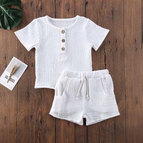 Baby Kids Boys Girls Short Sleeve Cotton Linen Elastic T-Shirt Tops+Shorts Set
