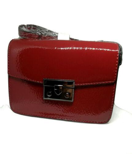 Emily /& Noah Kleine Handtasche Tasche mit Überschlag rot weinrot Lack