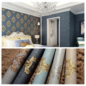 Details About 10m 3d Vintage Luxury Damask Waterproof Embossed Textured Pvc Wallpaper Roll