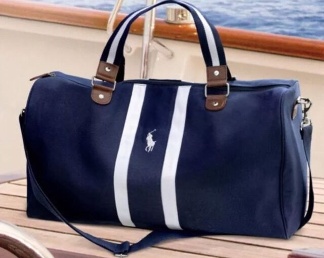 Ralph Lauren Canvas Leather Large Handbag Blue
