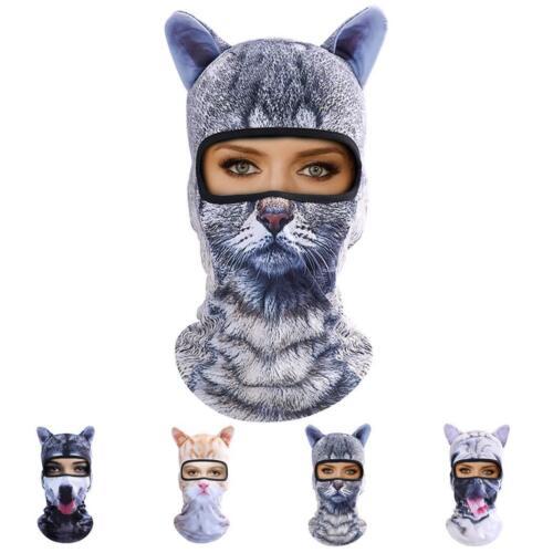 Cat Mask Balaclava Full Face Hat Animal Ears Sports Helmet Climbing Fishing Cap