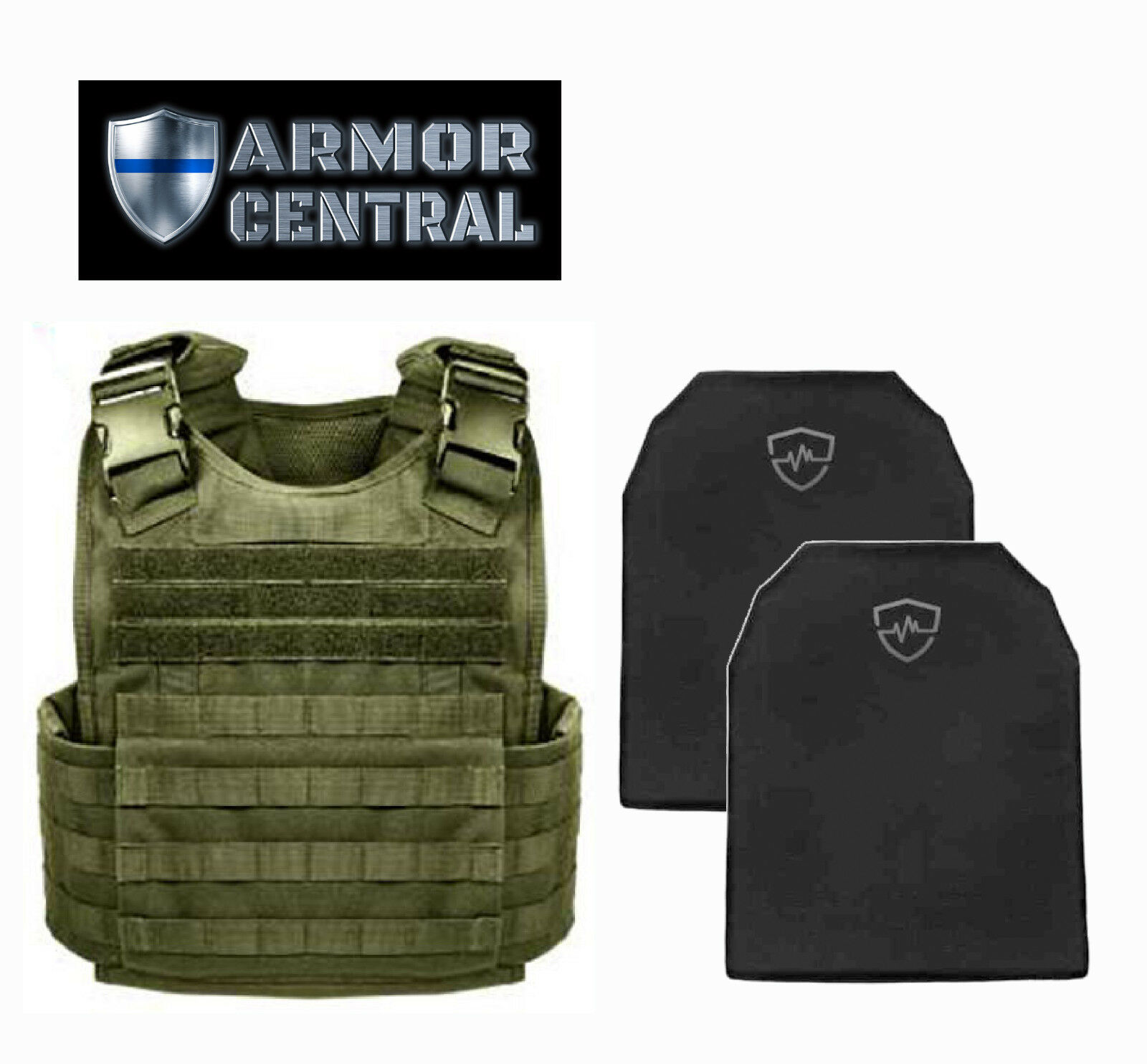 Tactical Olive  Drab MOLLE Plate Carrier w  Level IIIA Soft Body Armor - Hunting  great selection & quick delivery