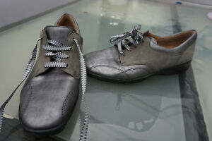 Details zu GANTER sensitiv Damen Comfort Schuh Kork Einlage Gr.5,5 H 38,5 Leder silber grau