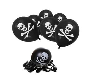 10 Pirate Skull Crossbones Black Balloons Birthday Party Helium Kids