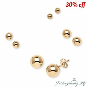 Image Is Loading 14k Solid Yellow Gold Ball Stud Earrings Sizes