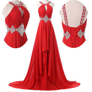 Long Chiffon Evening Formal Sleeveless Cocktail Dress Bridesmaid Prom Gown RED