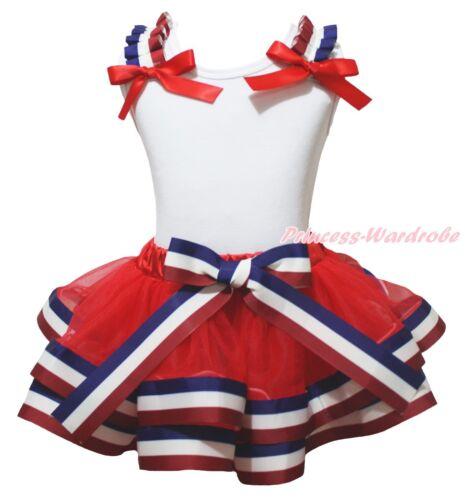 4th July Plain White Top Red White Blue Striped Satin Trim Skirt Girls Set NB-8Y
