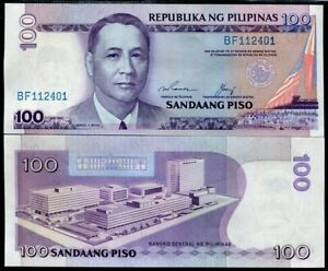 Prefix BF P-172f Sign 13 Blue Serial Philippines 100 Piso 1987 UNC
