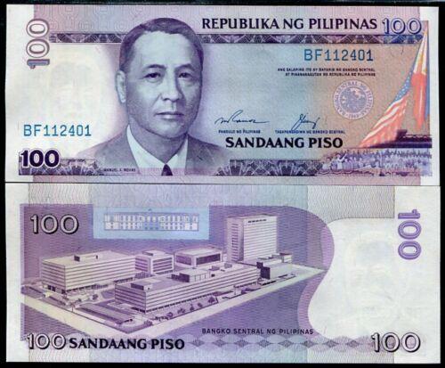 PHILIPPINES 100 PISO PESO 1987 P 172 SIGN 13 BLUE SERIAL NUMBER UNC